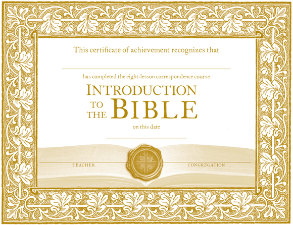 Introduction to the Bible: Certificates of Completion (Pack of 10)