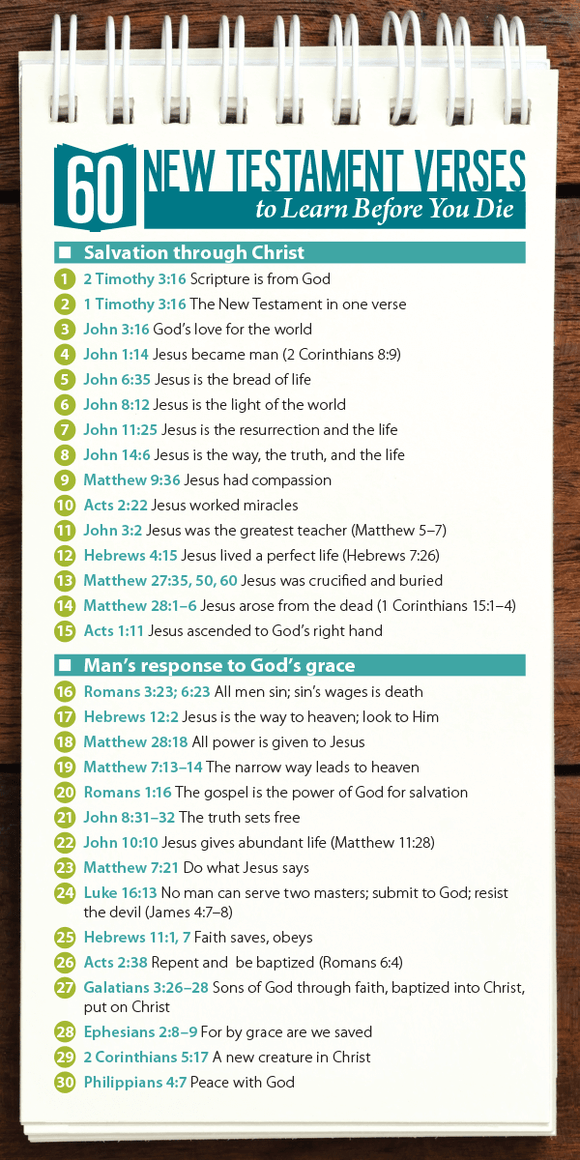 60 New Testament Verses to Learn Before You Die (Pack of 10) - Glad Tidings Publishing