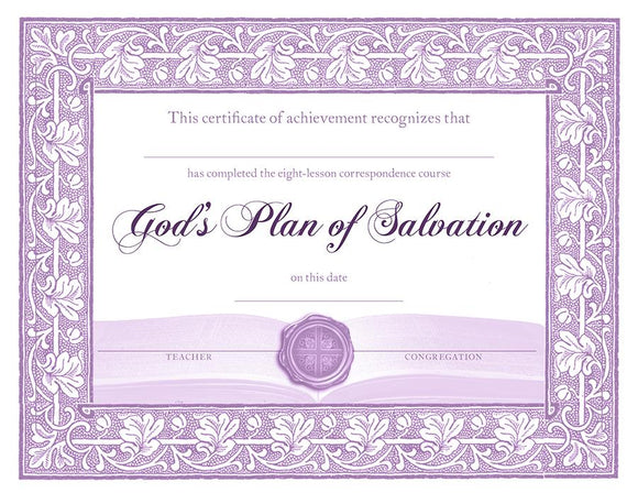 God's Plan of Salvation: Certificates of Completion (Pack of 10) - Glad Tidings Publishing