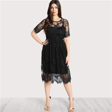 9f6731957c09c Sheinside Black Plus Size High Waist Floral Lace Cover Up Dress without  Cami Elegant Women Summer