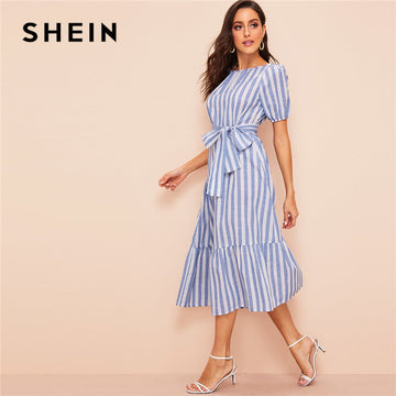 9088cace77 SHEIN Lady Pleated Detail Belted Flippy Hem Striped Maxi Dress Women Casual  Cotton High Waist Puff