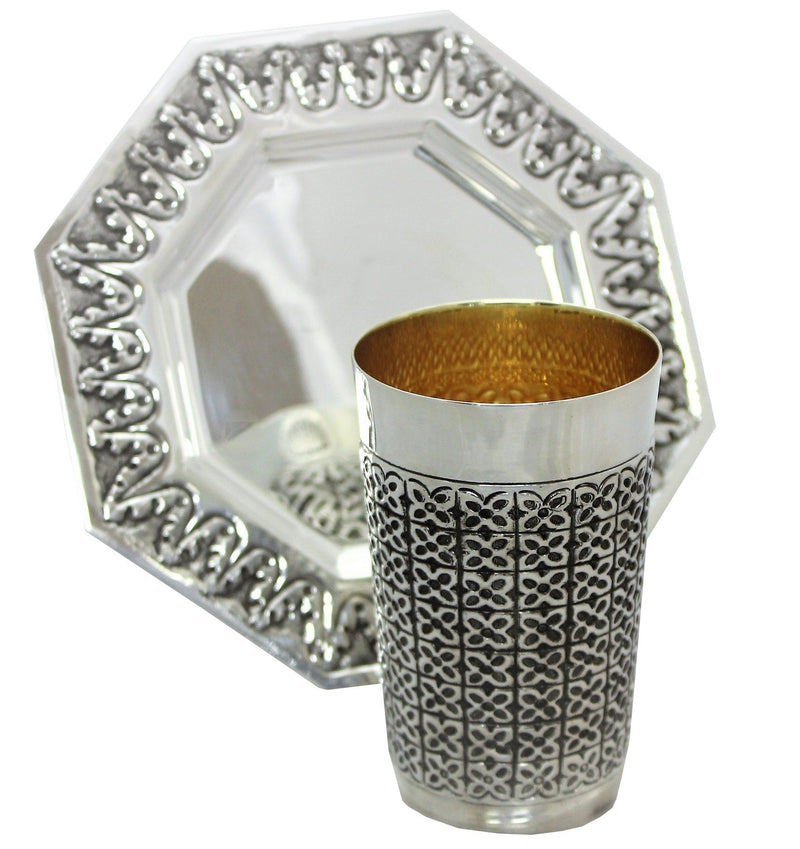 Heavy Exim Meshusha Sterling Kiddush Set