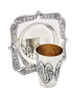 Hanging Leaves Sterling Kiddush set