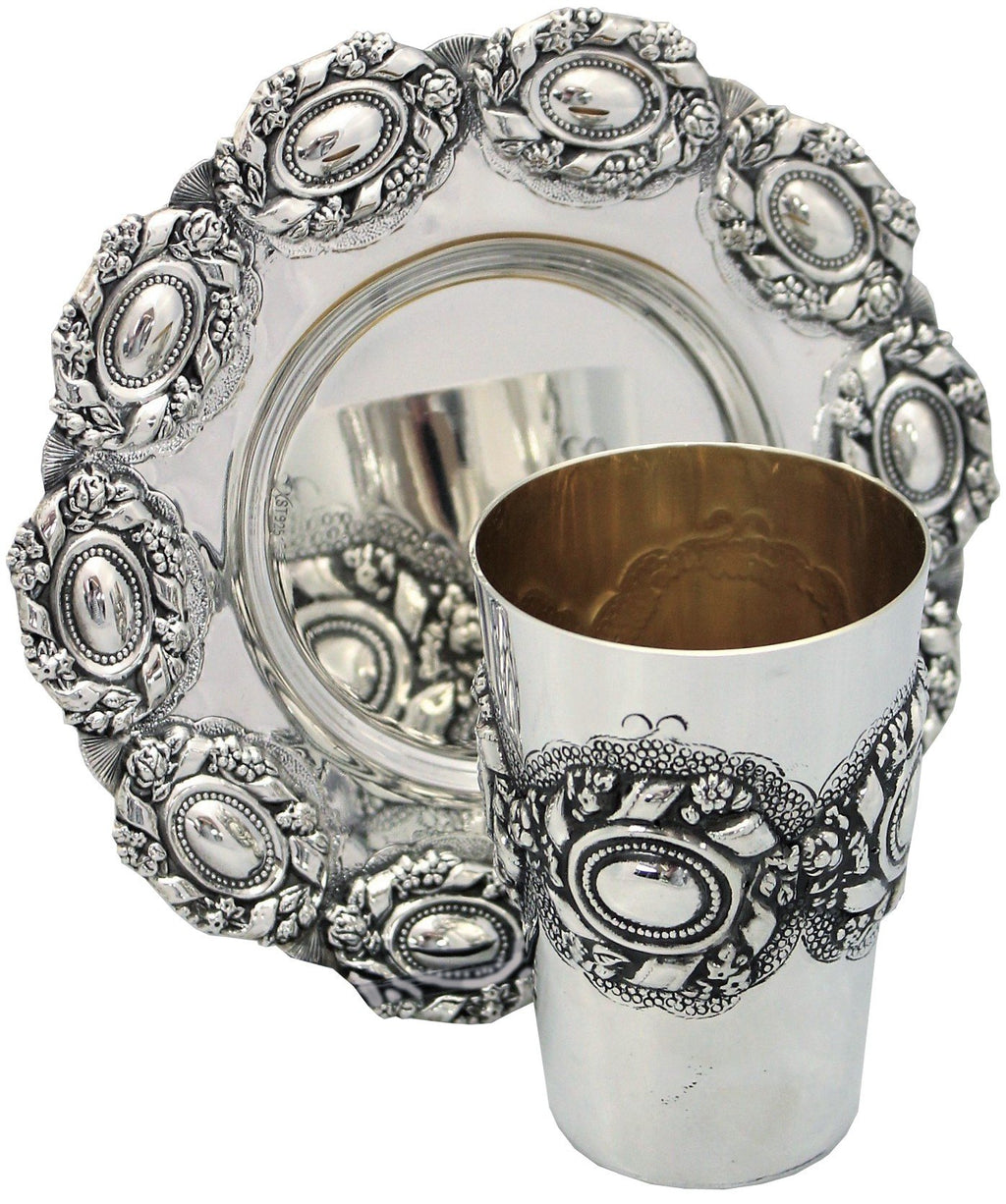 Heavy Ayin Agol Sterling Kiddush Set