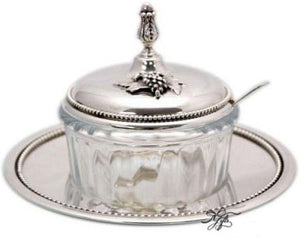 Grape Cluster Sterling Honey Dish w/ Spoon