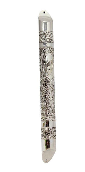 Chased Round Sterling Mezuzah