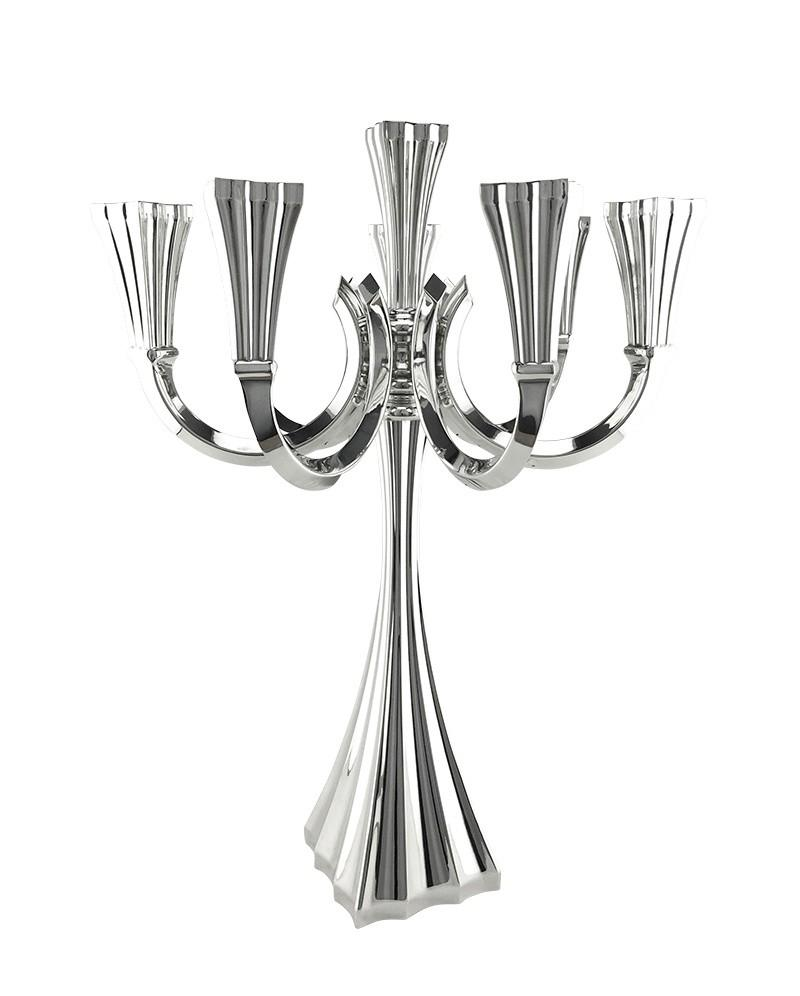 Galil Smooth 8-Light Sterling Candelabra