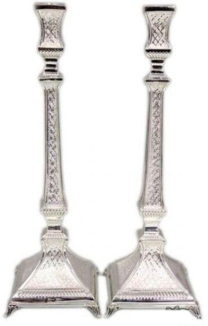 "Aruzis Diamond Engraved 14"" Sterling Candlestick-lacquered"