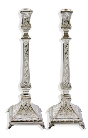 "Diamond Engraved Aruzis 14.5"" Sterling Candlesticks"
