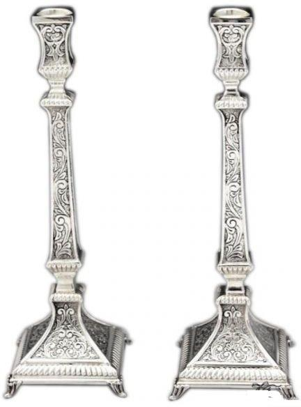 "Aruzis Chased Mini 9.5"" Sterling Candlesticks"