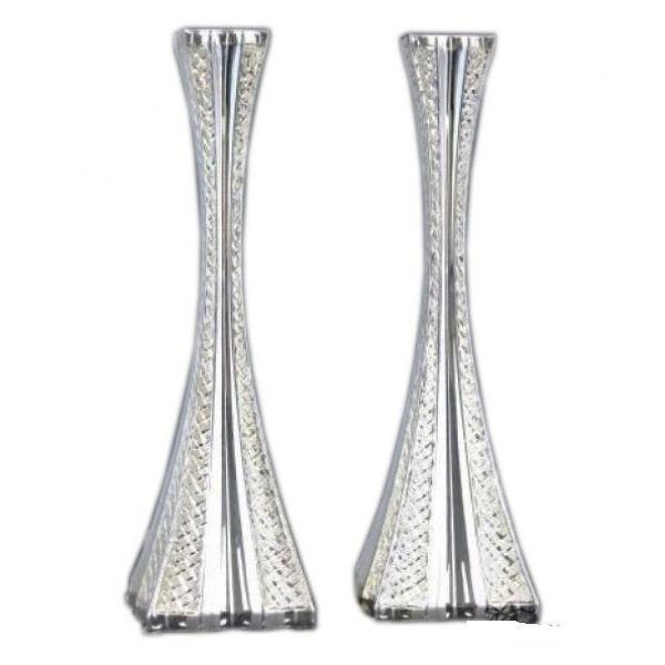 "Galil Diamond Engraved 12.75"" Sterling Candlesticks-Heavy"