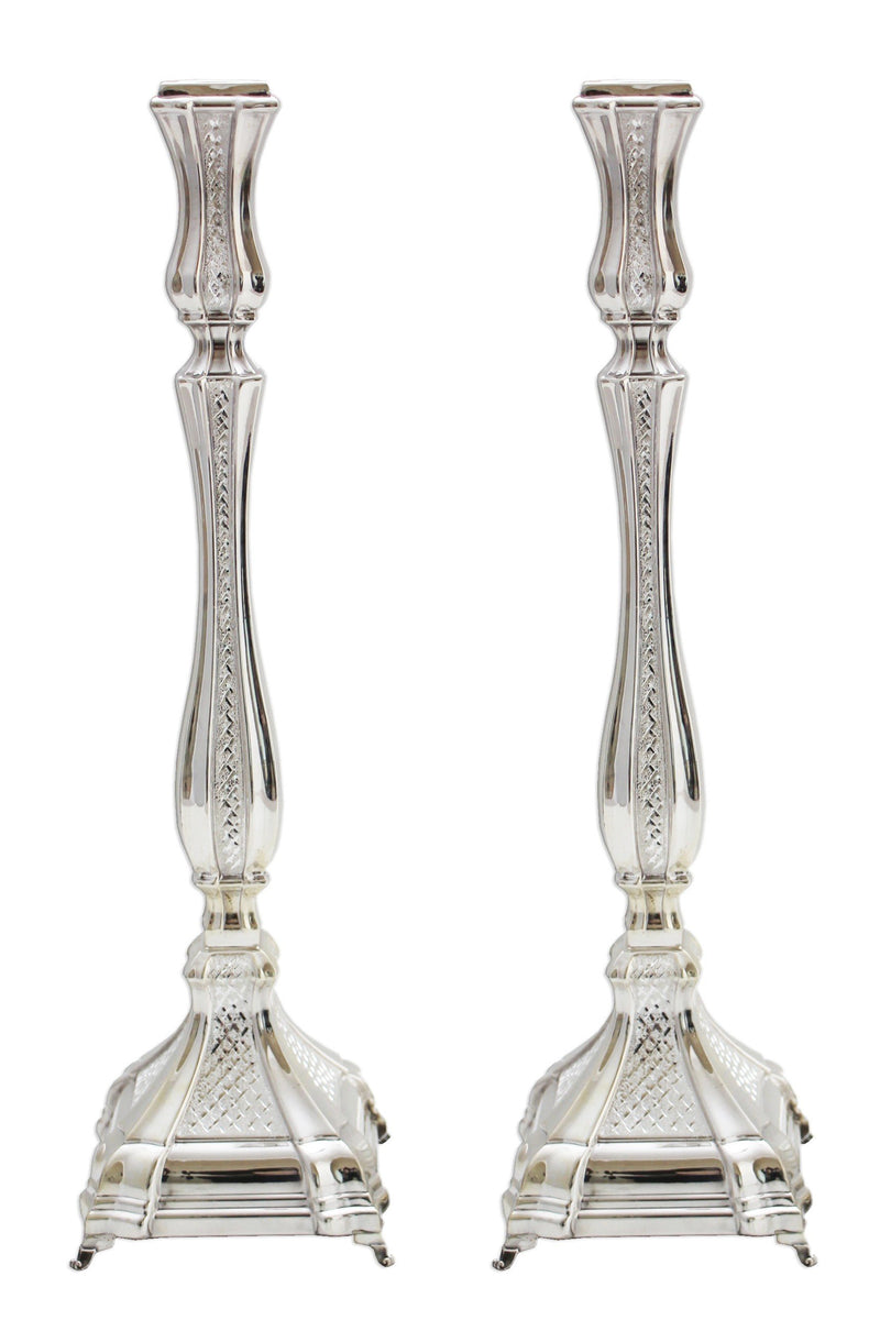 "Diamond Engraved Shnir 16"" Sterling Candlesticks"