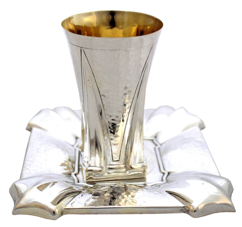 Hammered Gal Sterling Kiddush Set