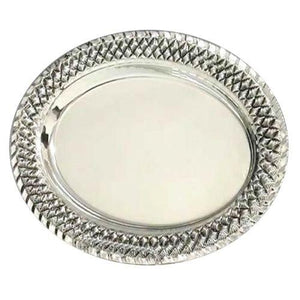 Weave Oval Sterling Silver Liquor Tray