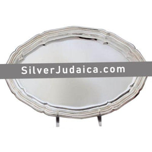 Scalloped Plain Oval Sterling Silver Liquor Tray