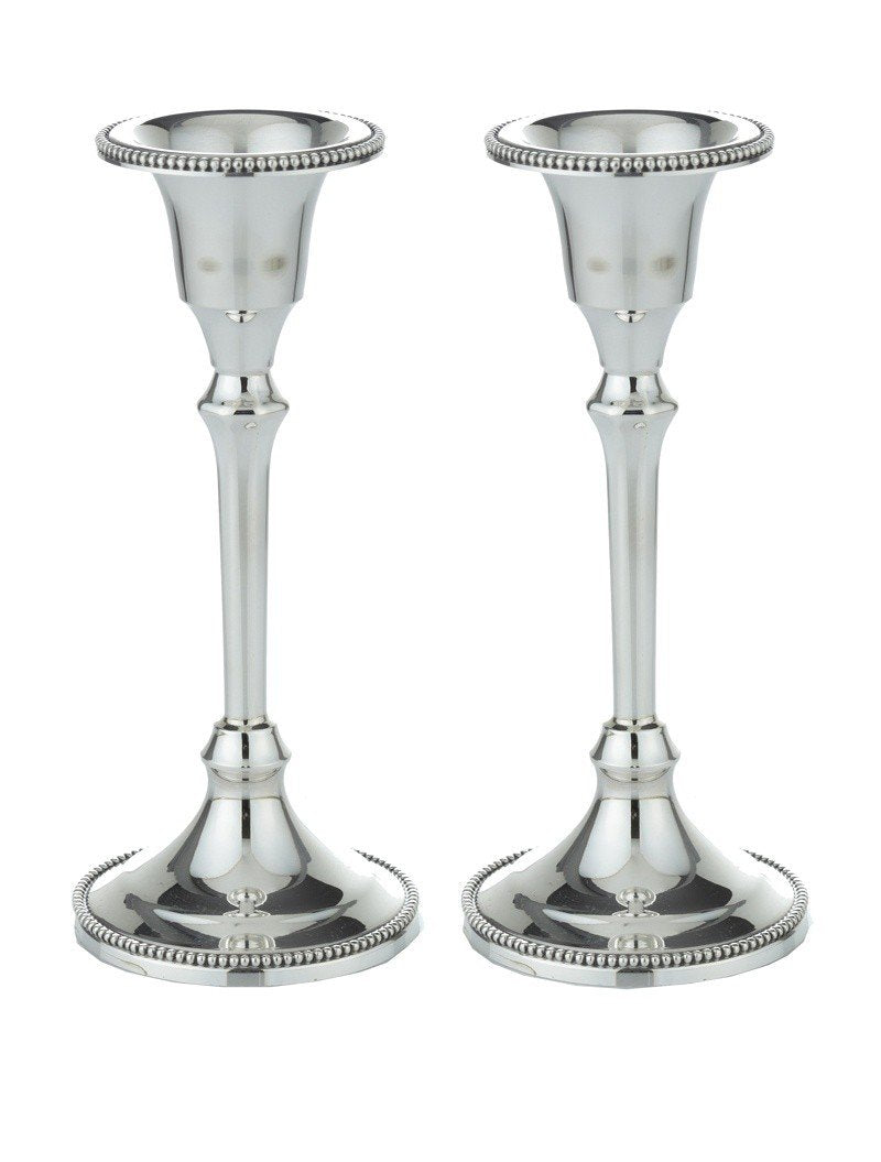 "Beaded Smooth 5.5"" Sterling Candlesticks"