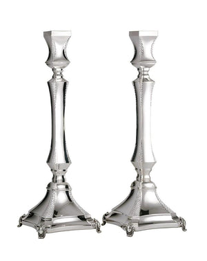"Diamond Engraved Michaela 17"" Sterling Candlesticks"