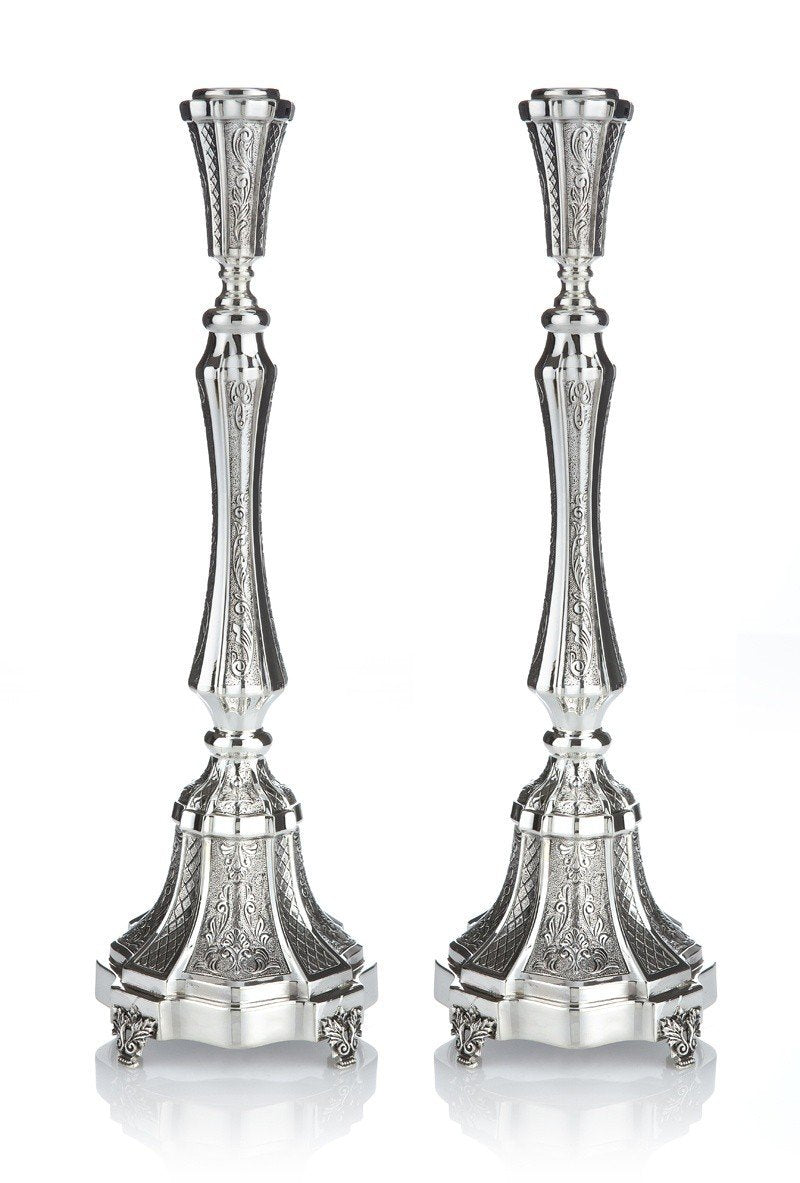 "Italian Chased 14.25"" Sterling Candlesticks"