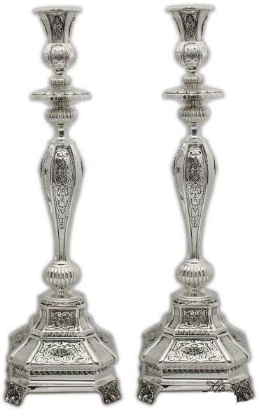 "Milazni Hammered 16.75"" Sterling Candlesticks"