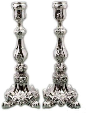 "Ornate Italian 9"" Sterling Candlesticks"