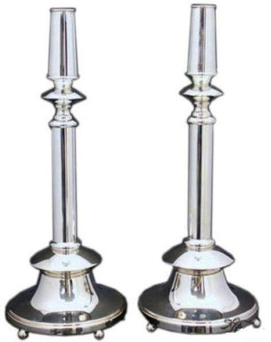 "Bagel Smooth 15"" Sterling Candlesticks"