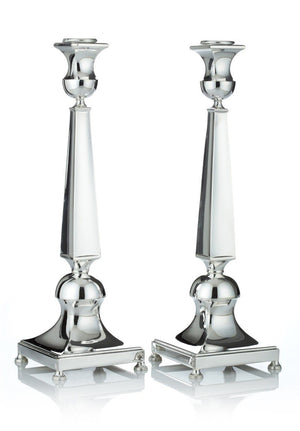 "Orego Smooth 12"" Sterling Candlesticks"