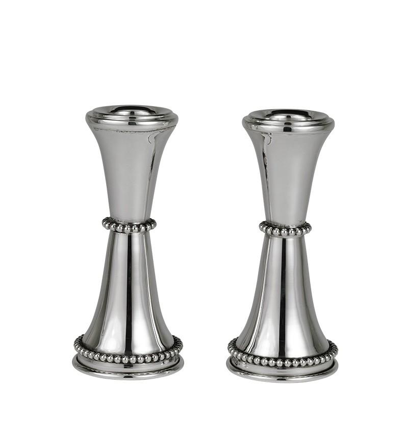 "Beaded Smooth 4.25"" Sterling Candlesticks"