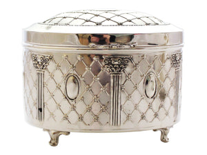 Oval Reshet Sterling Esrog Box
