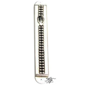 "Beaded 4.75"" Sterling Mezuzah"