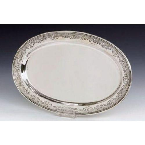Chased Oval Sterling Silver Liquor Tray