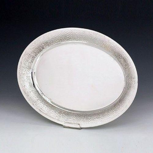 Oval Hammered Sterling Silver Liquor Tray