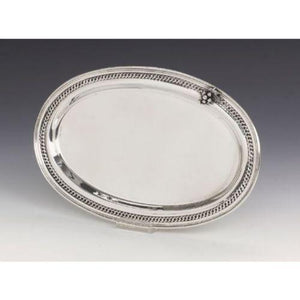 Rope with Grape Cluster Oval Sterling Silver Liquor Tray