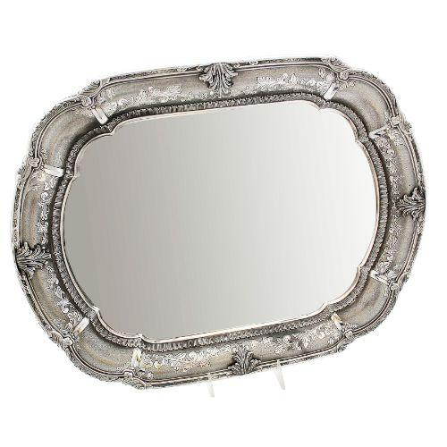 Arco Decorated Oval Sterling Silver Candlestick Tray