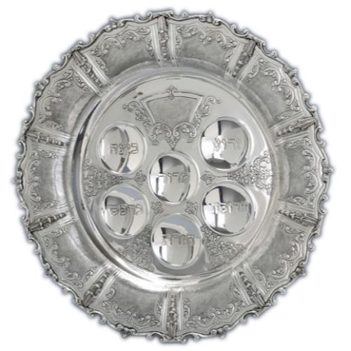 "Livorno 16.25"" Sterling Seder Plate with Leaves"