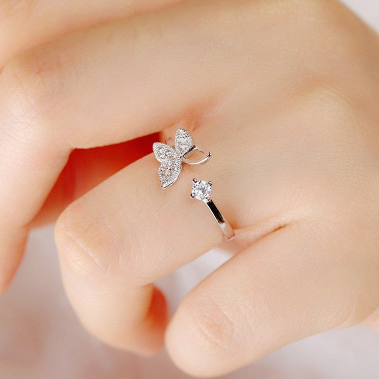 Sterling Silver Luxury Crystal Butterfly Ring for Women Open style