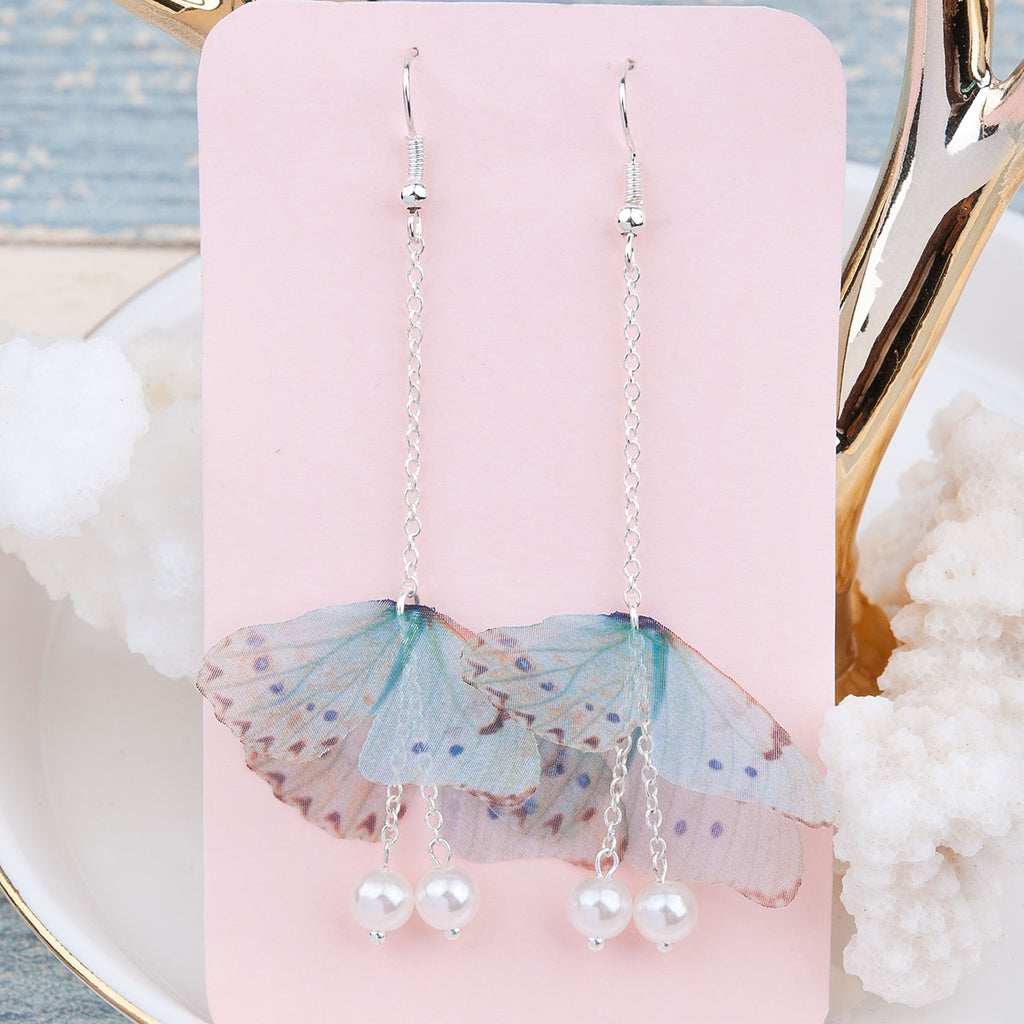 Butterfly Earrings, Silver color  with Green Blue wings, Pearl Fashion Earrings 80mm long