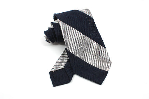 Shantung Grenadine - Navy/white