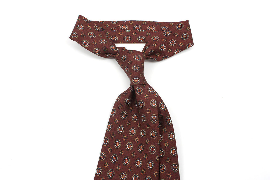 Printed silk schappe - Dark copper