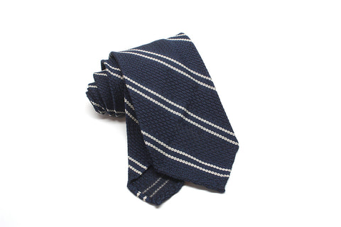 Grenadine (Garza Grossa weave) - Dark navy stripe