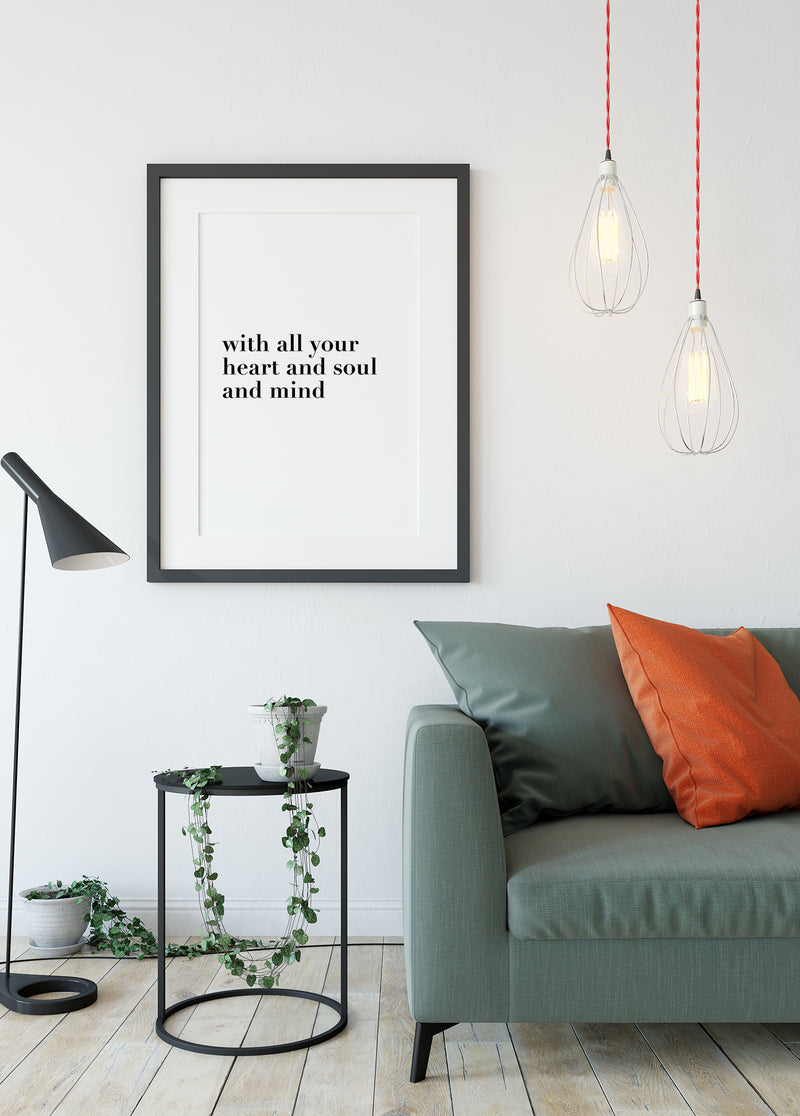 With all your heart and soul and mind - Christian poster