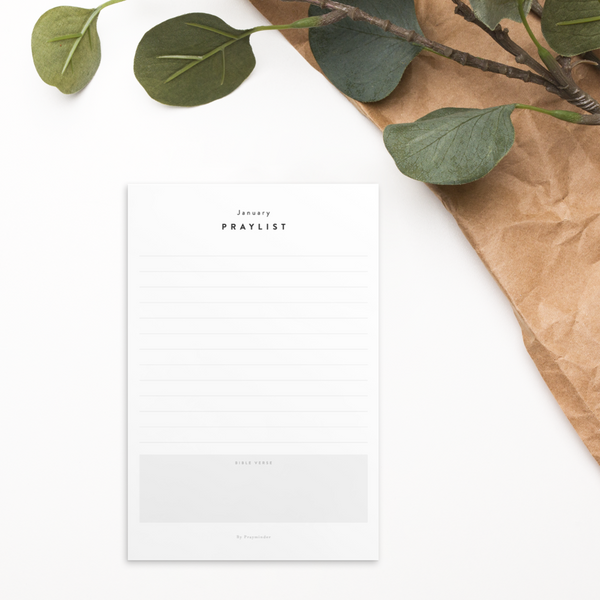 12-month Praylist Card Set - Minimal