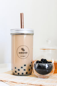 Bubble Tea Cup with Rose Gold Straw