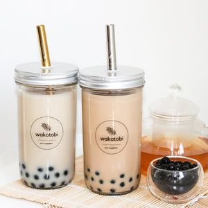 Bubble Tea/ Smoothie Cup with Silver/Gold Straw