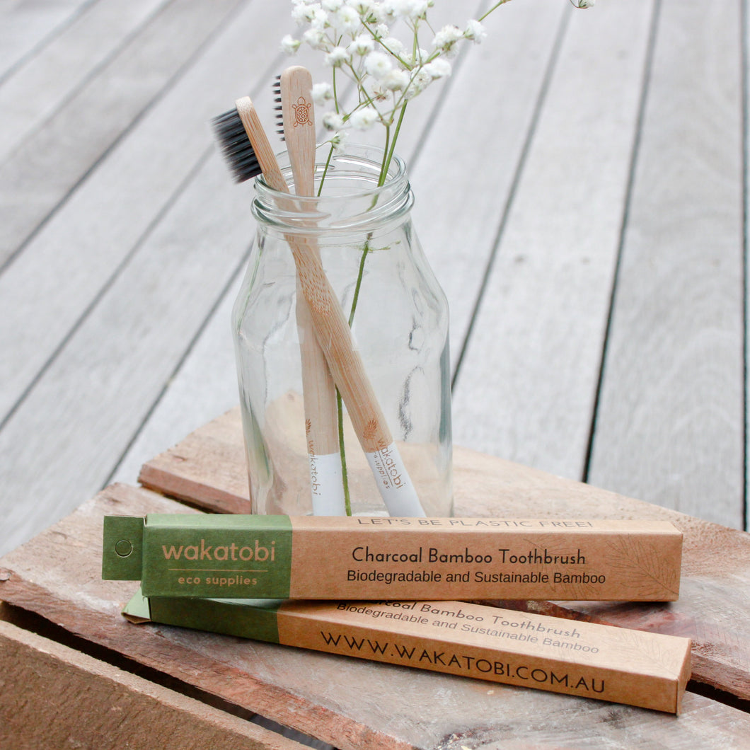 Charcoal Infused Bamboo Toothbrush - 4pcs