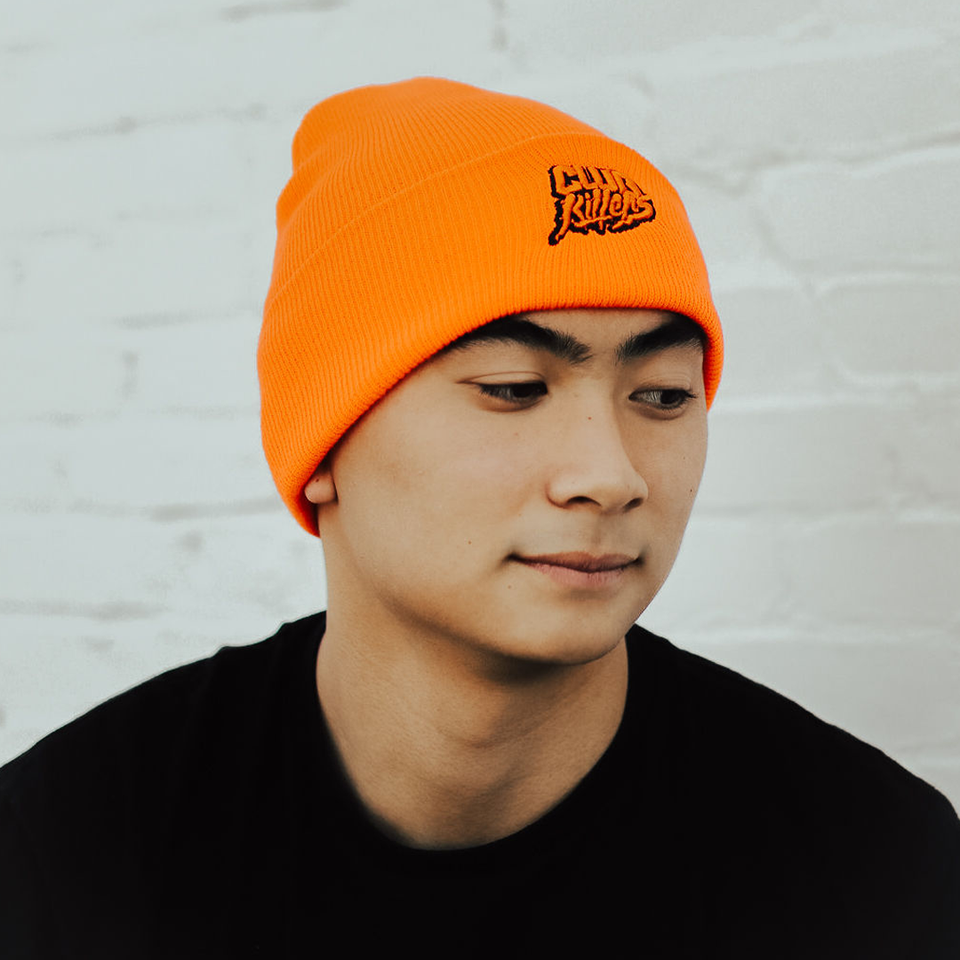 CUFFED KNIT BEANIE (BLAZE ORANGE)