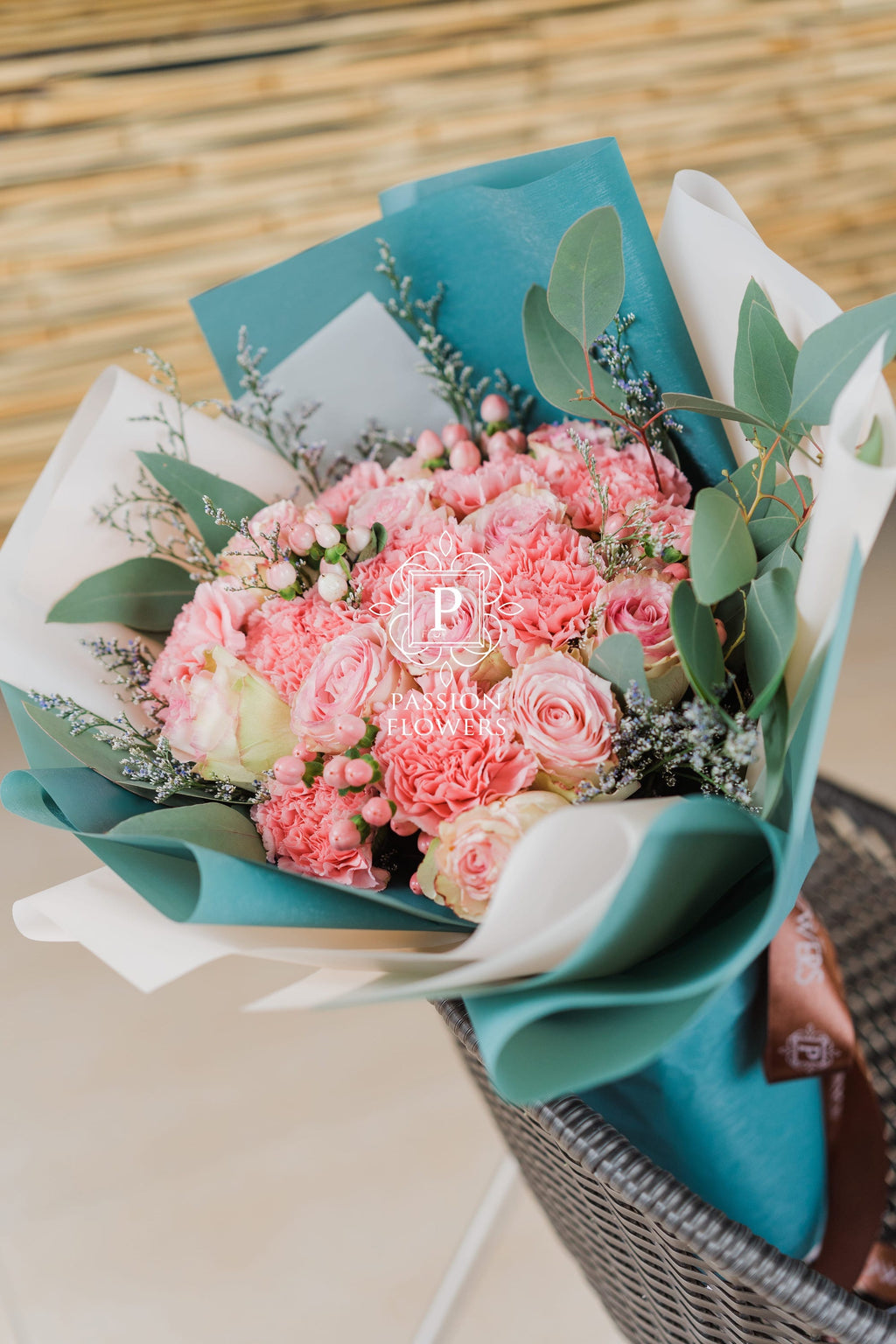Seline -  1 Dozen Pink Ecuadorian Roses with Carnations Bouquet