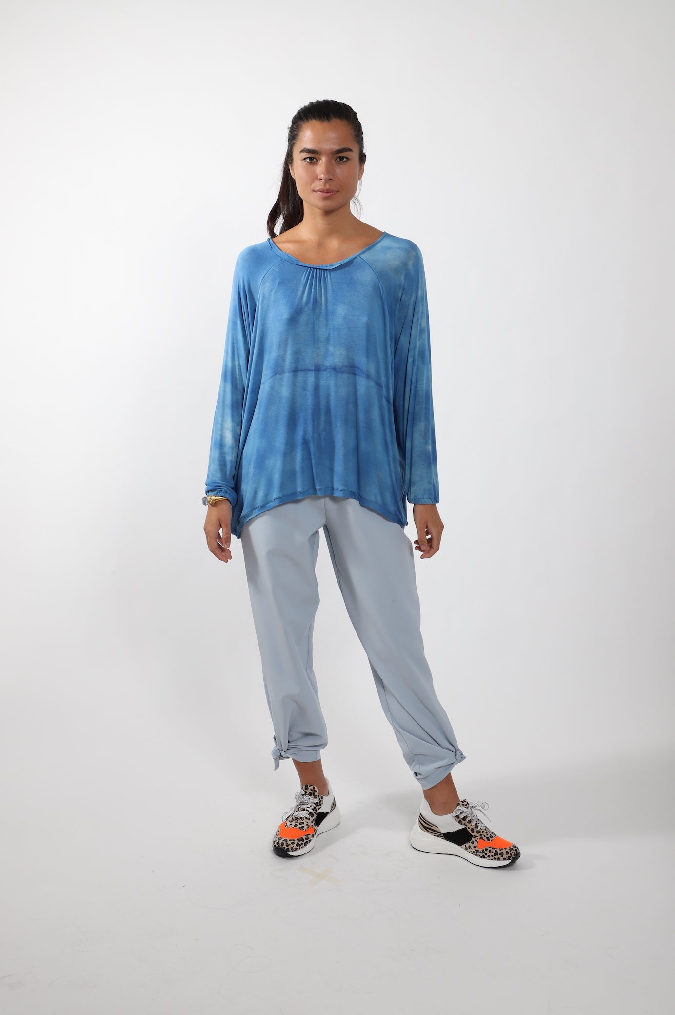 Raglan Long Sleeve Tee · Blue Tie Dye Cotton
