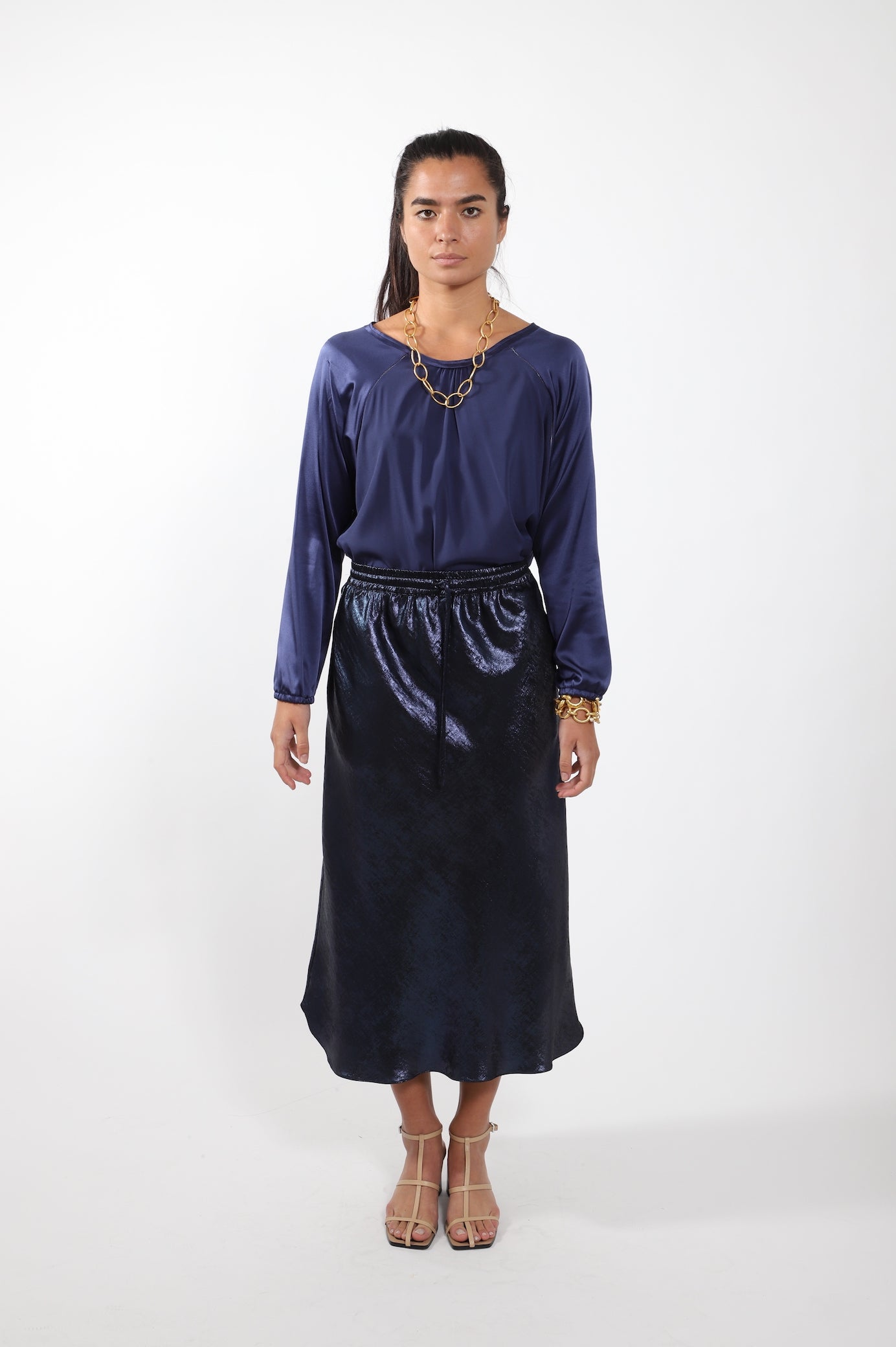 Scallop Skirt · Navy Metallic