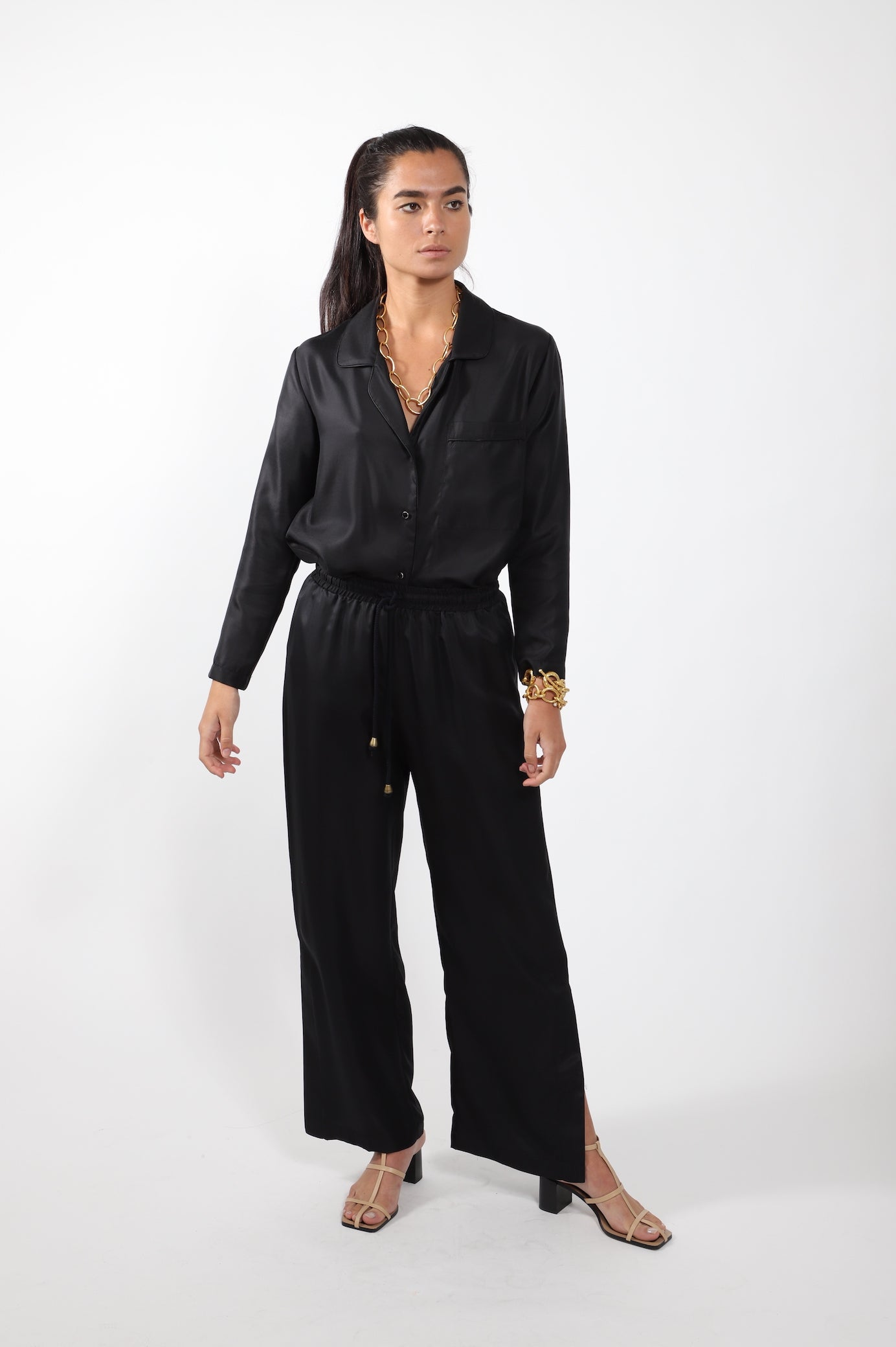 Wide Leg Split Pant · Black Silk