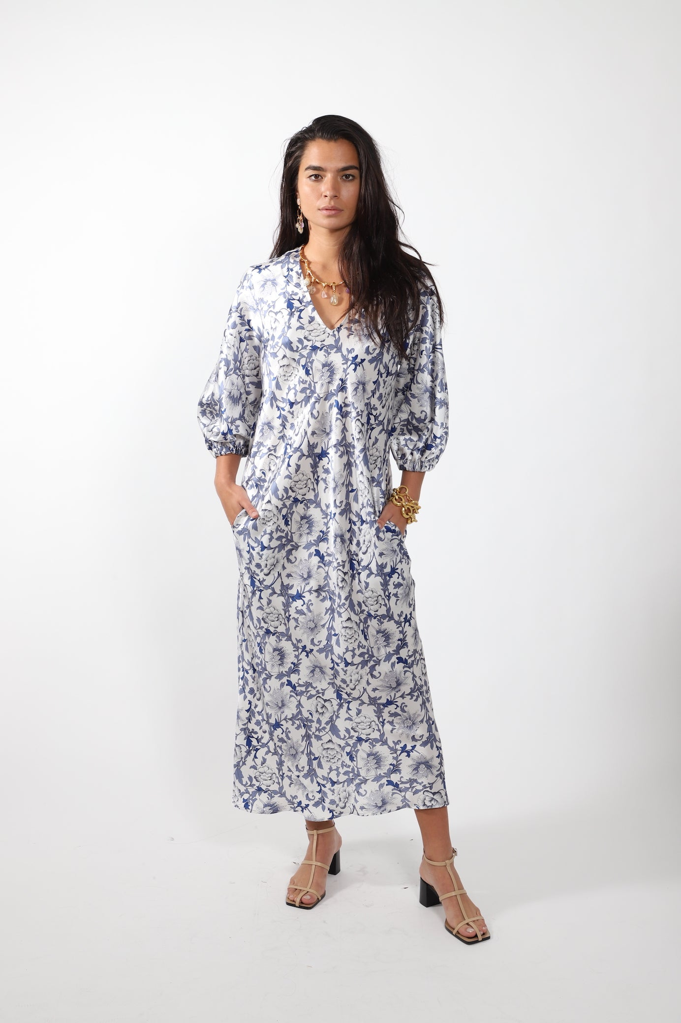 Bias V-Neck Dress · Navy and White Floral